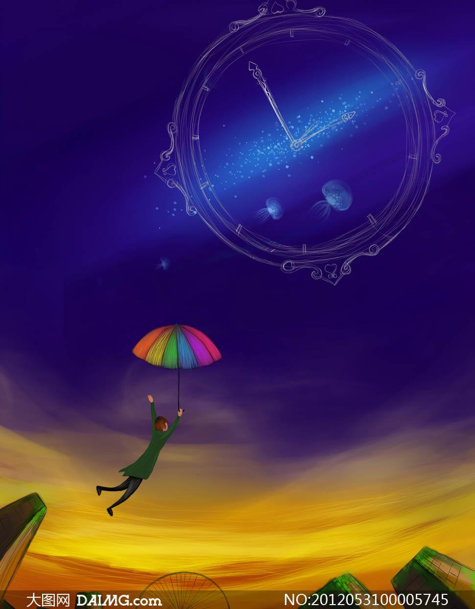 自由飞翔插画设计图片素材
