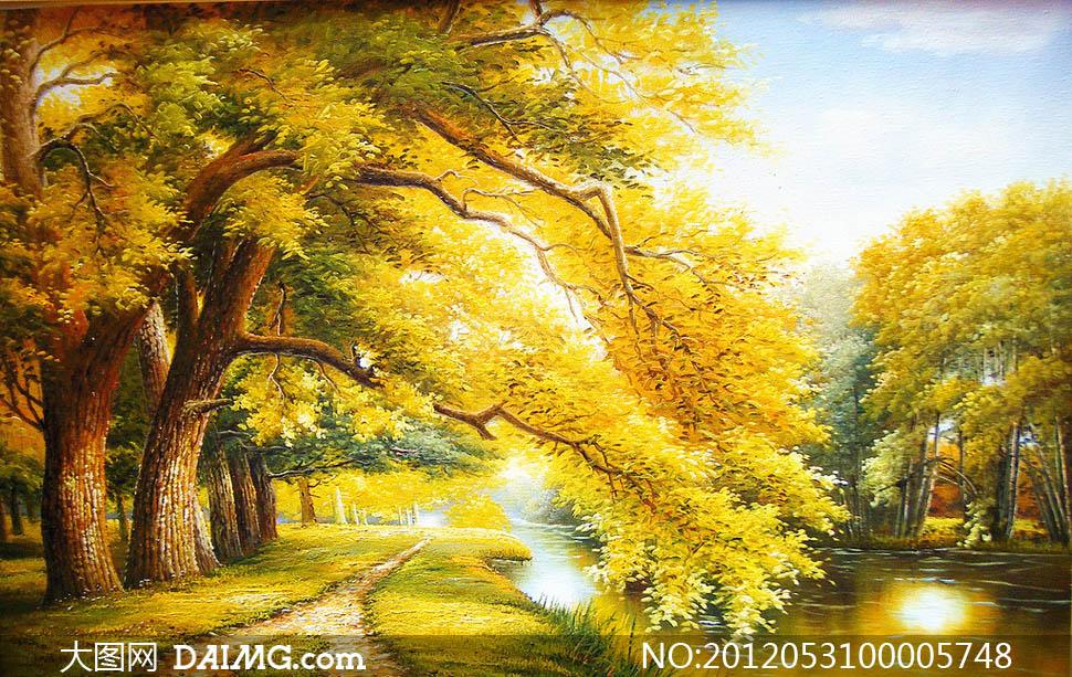 秋季金黄色大树油画设计图片 - 大图网设计素材下载图片
