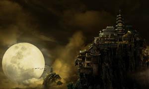 月光下的密山城堡PSD分层素材