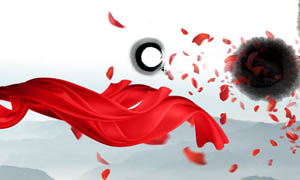 中国风红飘带设计PSD分层素材