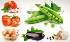 豌豆荚西红柿等蔬菜摄影高清图片