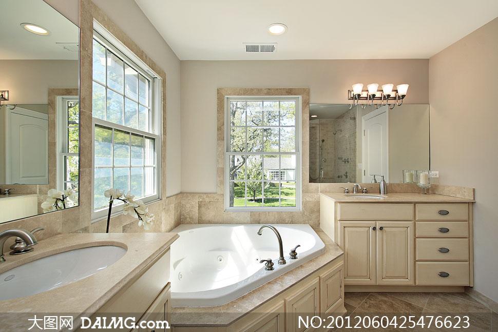 窗户白色鲜花花朵窗口灯具吸顶灯壁灯大理石花岗岩