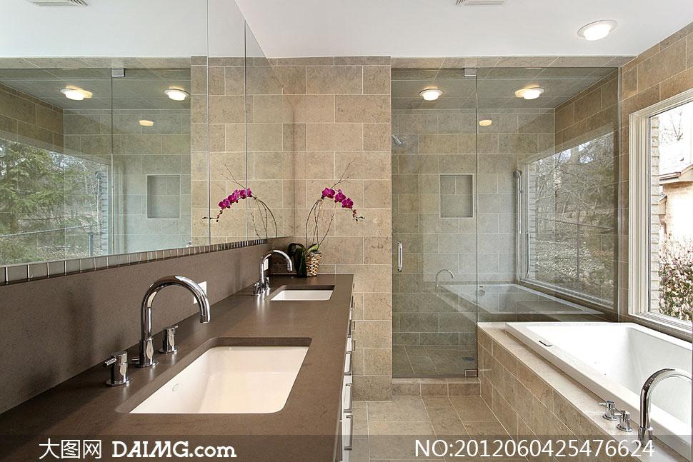 效果图渲染图洗手间浴缸盥洗室卫浴洗澡间水龙头窗户窗口灯具吸顶灯洗