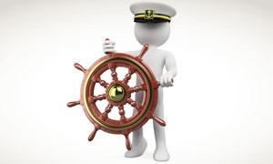 掌舵的白色船长3D小人高清图片
