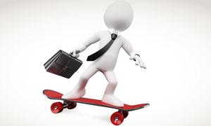 滑板上的商务创意概念小人高清图片