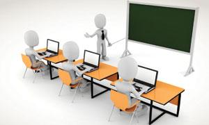 课桌前操作电脑的3D小人高清图片