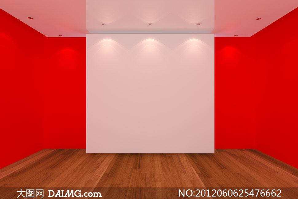 红色墙壁与木地板室内空间高清图片