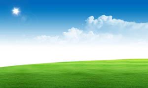 阳光下的绿色草地PSD分层素材