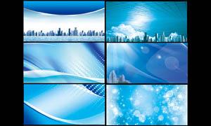 蓝色梦幻科技展板背景PSD分层素材