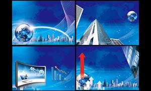 蓝色科技展板背景PSD分层素材
