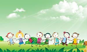 幼儿园卡通背景板设计PSD分层素材