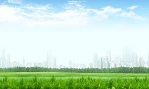 蓝天白云下的草地和小草PSD分层素材