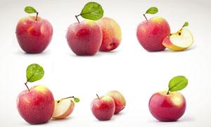 带着水珠的红苹果特写摄影高清图片