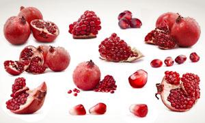 红红的石榴与切开摄影高清图片