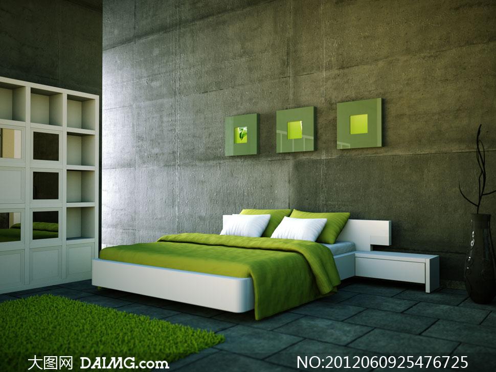 绿色卧室家具摆设布置高清摄影图片