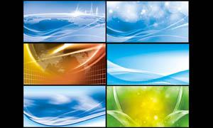梦幻炫彩科技展板背景PSD分层素材