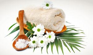 白色 盐粒/木勺盐粒与白色小雏菊高清摄影图片