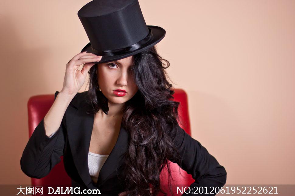 美女模特帽子性感外国国外大礼帽黑色黑发长发红唇