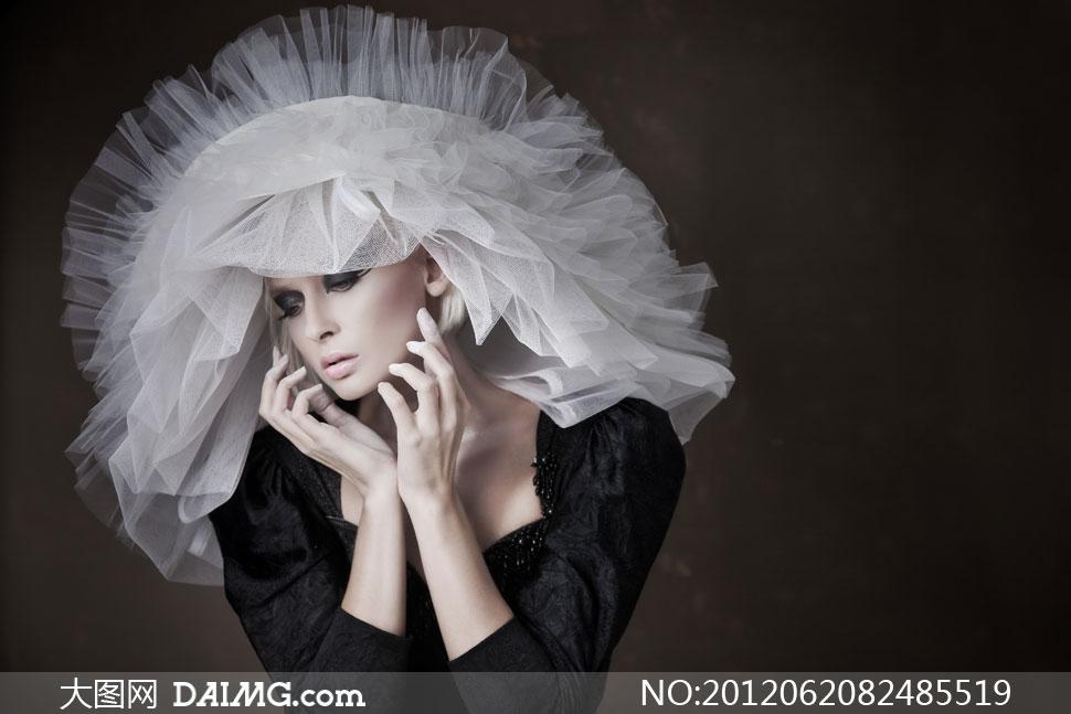 白色薄纱帽饰浓妆美女摄影高清图片 大图网设