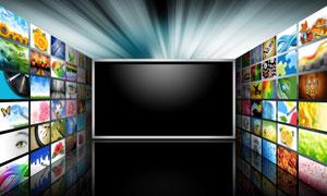 立体空间屏幕与照片展示墙高清图片
