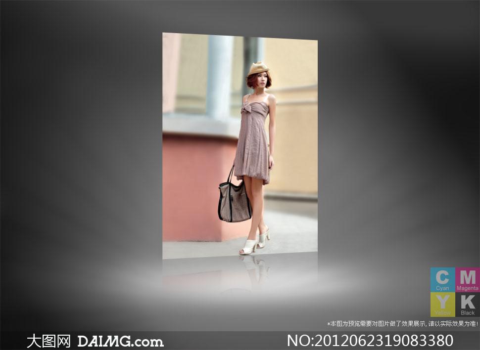 穿吊带抹胸中裙的美女摄影高清图片 大图网设 高清图片