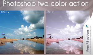风景照片淡雅粉红效果调色动作