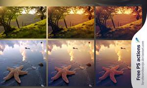 风景照片唯美黄色调调色动作