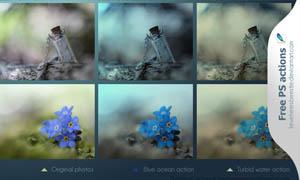 照片调色唯美蓝色效果调色动作