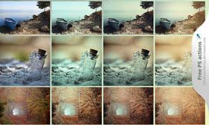 风景照片单色润色效果调色动作
