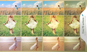 国外美女照片怀旧黄色效果调色动作