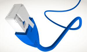 蓝色RJ45以太网接口网线高清图片