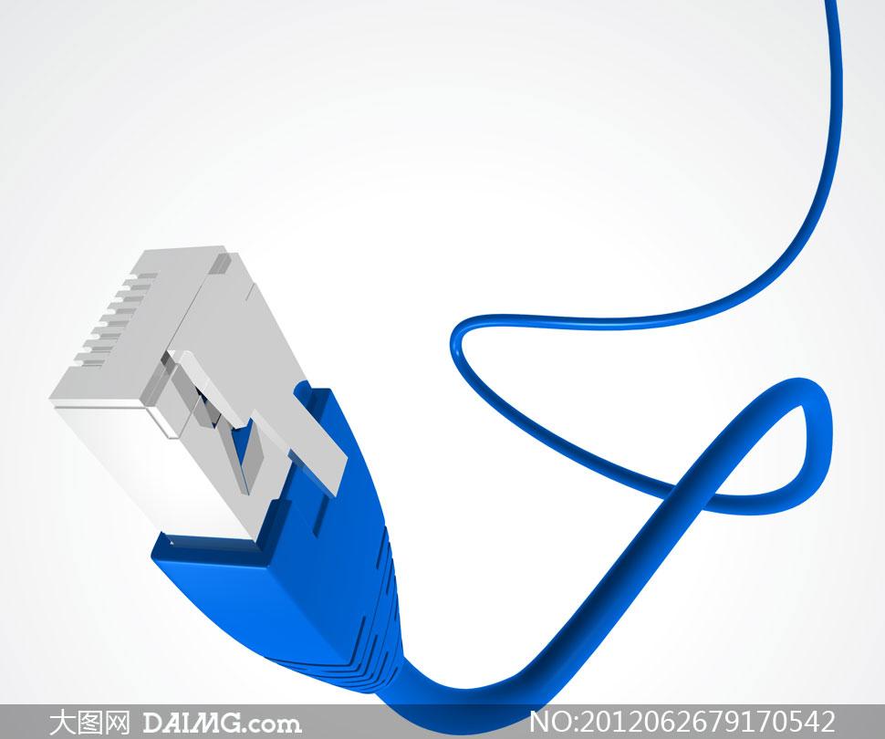 蓝色RJ45以太网接口网线