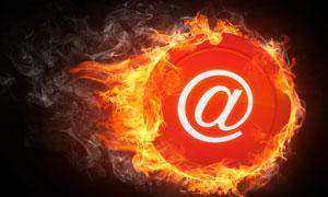 带着火焰的@符号创意设计高清图片