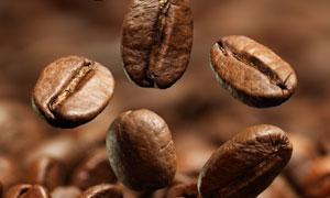 悬浮在半空在的咖啡豆特写高清图片
