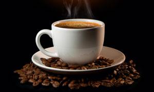 冒热气的白色咖啡杯子高清摄影图片