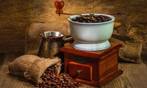 咖啡豆研磨机与麻袋摄影高清图片