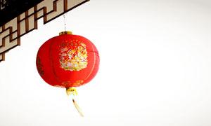 高高挂起的大红色灯笼摄影高清图片