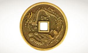 龙飞凤舞方孔古钱币摄影高清图片