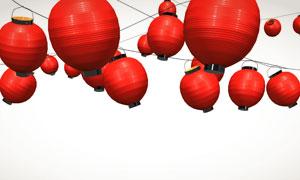 日本风格的红色圆灯笼摄影高清图片