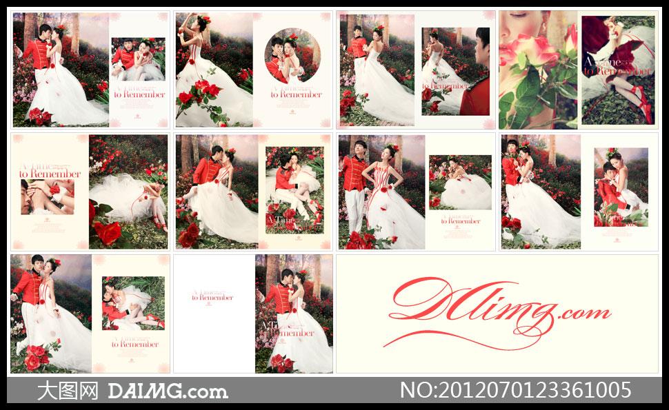 婚纱照摄影样册设计相册设计版式设计版面设计美女帅哥主题摄影红色图片