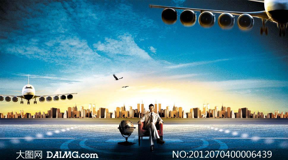 飞机场蓝天云彩天空房地产广告海报设计广告设计模板psd分层素材源