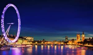 伦敦眼摩天轮夜景摄影图片