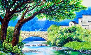 村前的小河油画设计图片素材