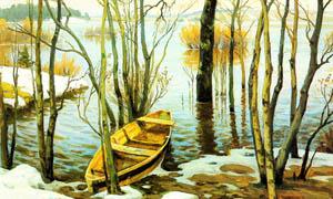 河边的小木舟风景油画设计图片