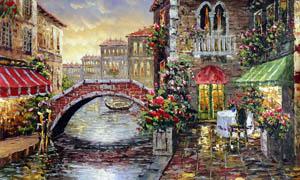 欧式街景油画设计图片素材