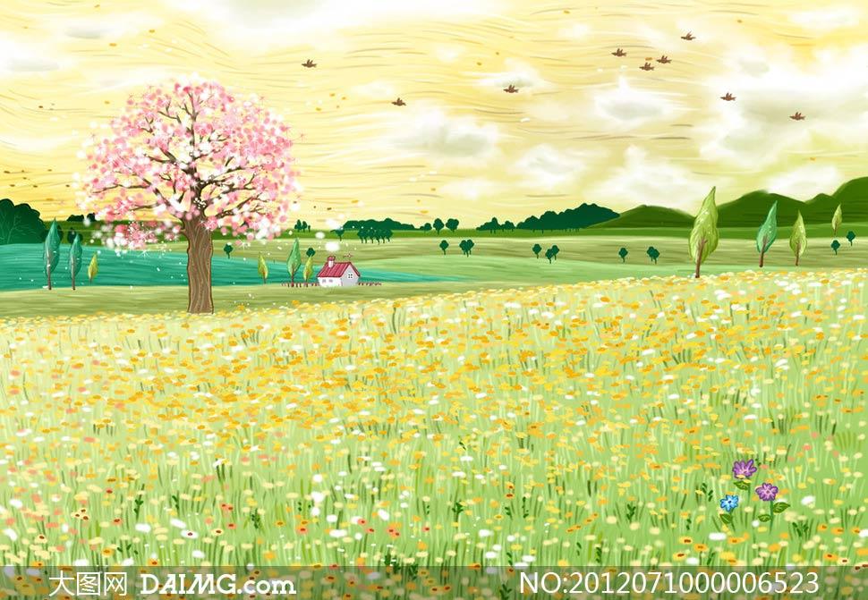 春天风景卡通画梦想动漫小鸟鲜花草地花地