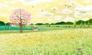 春天野外风景油画设计图片