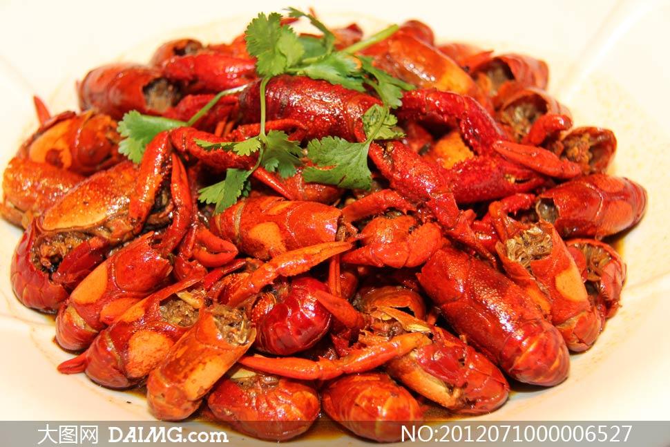 卤味小龙虾美食摄影图片