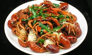 韭菜烧龙虾美食图片素材