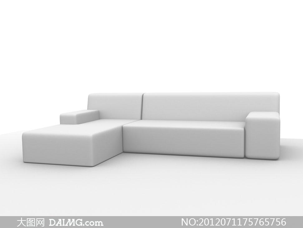 白色l形组合沙发效果图高清图片